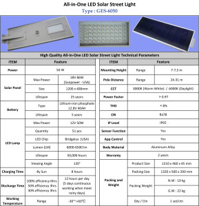 Lampu Jalan LED Solar Cell 50 Watt