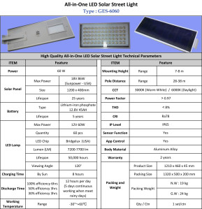 Lampu Jalan LED Solar Cell 60 Watt All in One