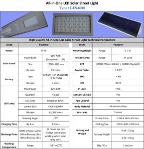 Lampu Jalan LED 40 Watt Tenaga Surya